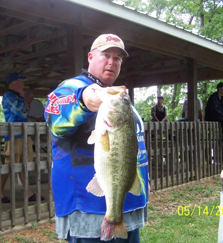 Greg Stewart Landing A Bass Hog - 7 pound -7 oz